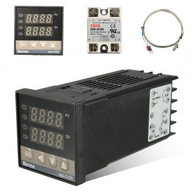 Digital PID Temperature Controller + 40A SSR + K Type Thermocouple Probe Sensor