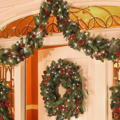 Traditional 9Ft Large Christmas Garland Pre Lit LED Light Fireplace Decoration