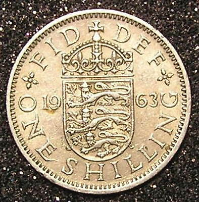1-Coin from Great Britain.  1-Shilling.  1963.    24mm.