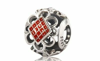 Jimond Red Enamel Chinese knot Openwork Charm - 925 Sterling Silver - JM-BD017