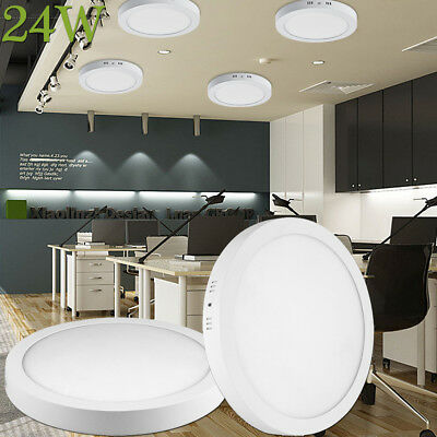 24W Round LED Ceiling Down Panel Light Flush Mounted Lamp Cool White Fixtures