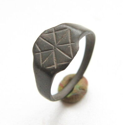 Ancient Old Medieval Bronze Ornament Ring (JNR25)