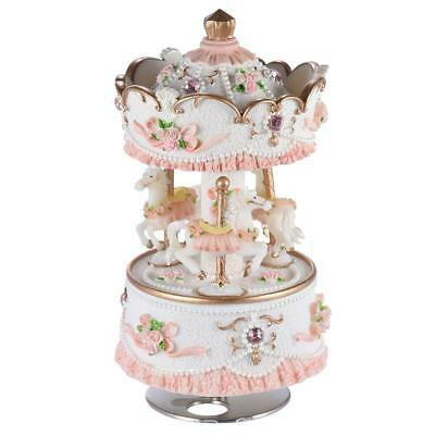 Laxury Windup 3-horse Carousel Music Box Melody Castle in the Sky Purple C1I8