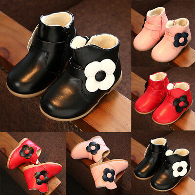 UK Kids Baby Girl's Warm Princess Boots Anti-slip Sneakers Leather Shoes Booties