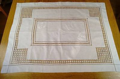 ANTIQUE LINEN TABLECLOTH OR TABLE TOPPER Whitework Embroidered Monogram #T67