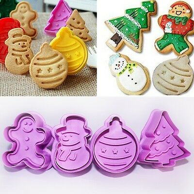 4Pcs/set Christmas Cookie Biscuit  Plunger Cutter Mould Fondant Cake Mold Bake