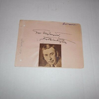 Booth Tarkington was an American novelist and dramatist  Hand Signed Album Page