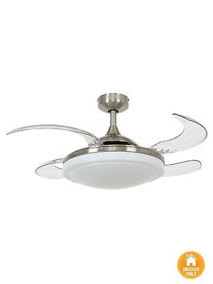 Fanaway Evora 90cm Ceiling Fan with Retractable Blades and Light in Brushed C...