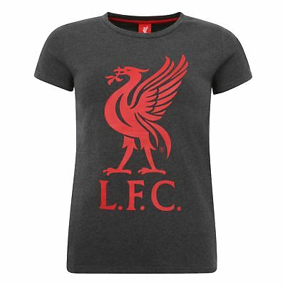 Liverpool FC LFC Ladies Charcoal Red Liverbird T-Shirt NWT Official