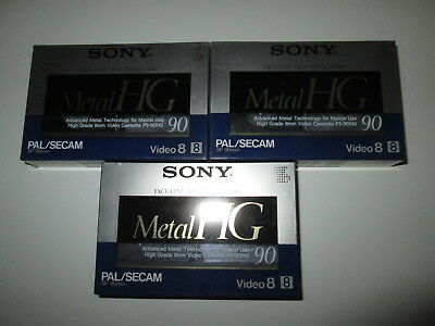 3 x Sony Video 8 mm Metal HG neu+OVP. P5-90HG Pal/Secam