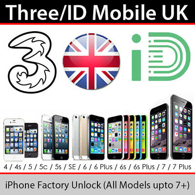 3UK (H3G) iPhone Factory Unlocking Service (All Models up to iPhone 7)