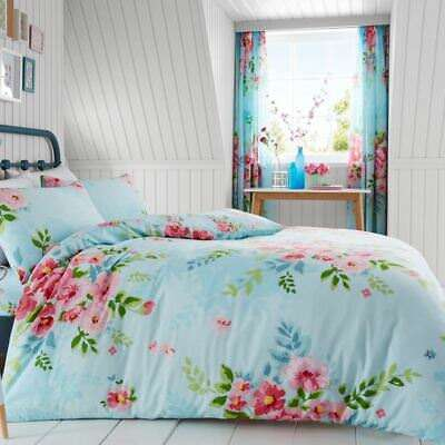 Alice Floral King Size Duvet Cover Set Roses Flowers Bedding - Turquoise & Pink
