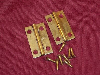 "2  Vintage Jewelry Box Small Solid Brass Hinges and Screws 1 1/2"" x 15/16"""