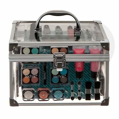 Technic Large Clear Cosmetic Case Filled With Make Up Vanity Box Gift Set