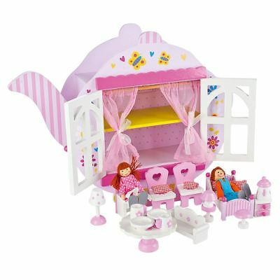 Teapot Wooden Dolls House Pink With Accessories Kids Toy Leomark