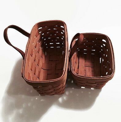 Longaberger Woven Baskets Set Of 2 With Hanging Hardware Woven Baskets 1995