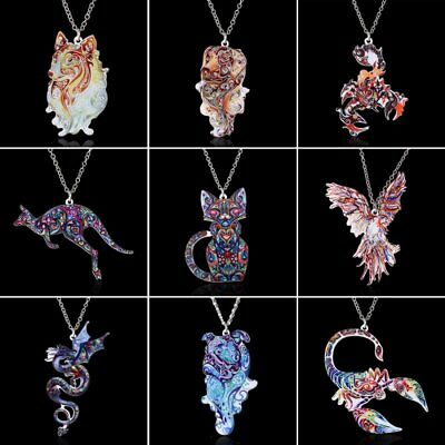 New Fashion Women Animal Cat Dog Acrylic Chain Charm Pendant Necklace Party Gift