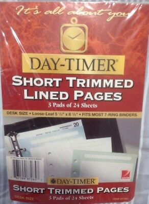 """Day-Timer Short Trimmed Lined Pages 3 Pads Of 24 Sheets Desk Size 5.5"""" X 8.5"""""""