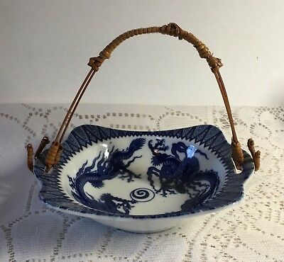 Vintage Pre WWII Blue & White Nippon Porcelain Basket with Bamboo Handle