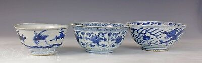 Lot Of Three Antique Chinese Blue And White Porcelain Bowls - All Ming Dynasty
