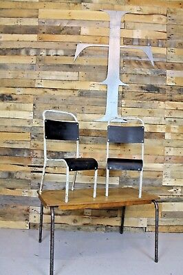 Vintage Retro Industrial Childs Desk With Two Matching Tubular Metal Chairs