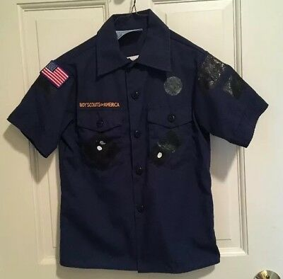 Cub Scout Official Uniform Shirt Navy Blue Boy Scouts BSA Size Youth Small AS IS