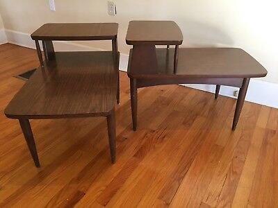 Pair Of Vintage Mid-Century Modern Walnut End Side Tables Two Tier Formica Top