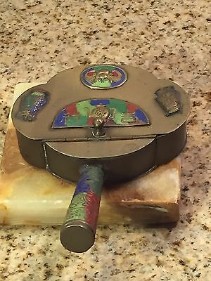 BRASS AND ENAMEL Silent Butler/ Crumb Tray Marked CHINA