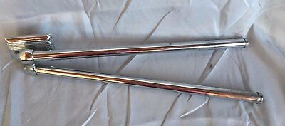 Antique Art Deco Chrome Brass  Swivel two double Arm Towel Bar Vtg Old 226-17J