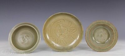 Lot Of Three Antique Chinese Ming Dynasty And Earlier Celadon Plates Dish