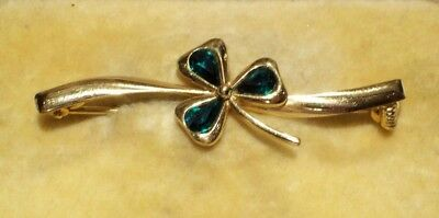 Vintage Jewellery Faux Emerald Crystal Lucky Three Leaf Clover Bar Brooch/pin