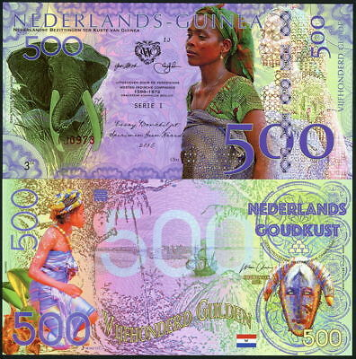 Netherlands Guinea 500 Gulden 2016, native woman, elephant / mask POLYMER new