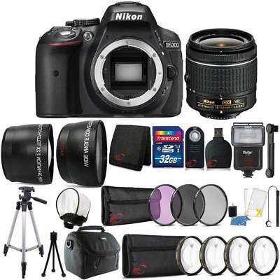 Nikon D5300 24.2MP DSLR Camera 18-55mm Lens + Zoom Flash + Full Accessory Kit
