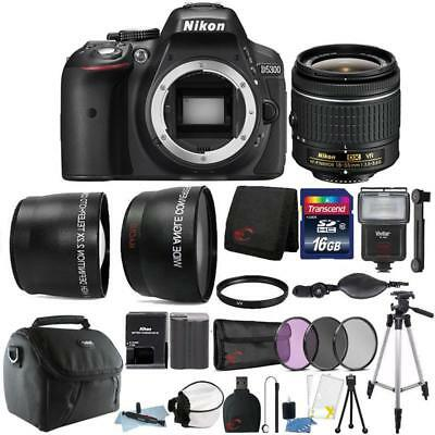 Nikon D5300 24.2MP DSLR Camera 18-55mm Lens + Zoom Flash + Top Accessory Bundle