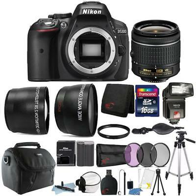 Nikon D5300 24.2MP DSLR Camera 18-55mm Lens + TTL Flash + Top Accessory Bundle