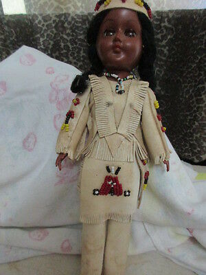"11"" Vintage Indian Girl Doll Beaded Leather Clothing 1950's Blinking Eyes 1950's"