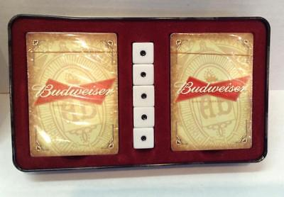 2 New Decks PLAYING CARDS Budweiser King of Beers & 5 DICE In Metal Tin Box 2009
