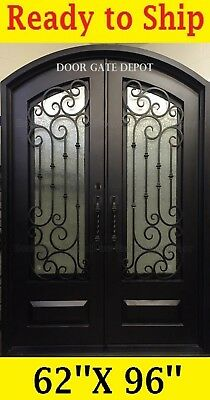Wrought Iron Door With Double Tempered Glass 62''x96'' Dgd1019Abp