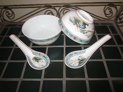 Chinese Rice Bowls and Spoons Vintage hand painted Details Mfg China