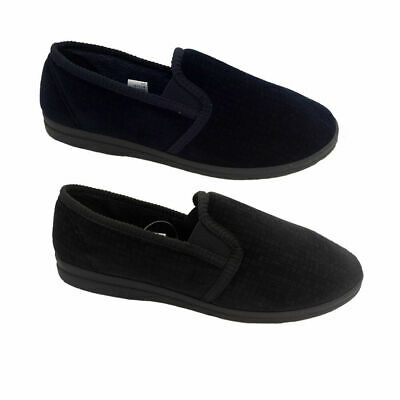 Mens Slippers Grosby Arthur Navy or Charcoal Slip on with Elastic New Sizes 6-12