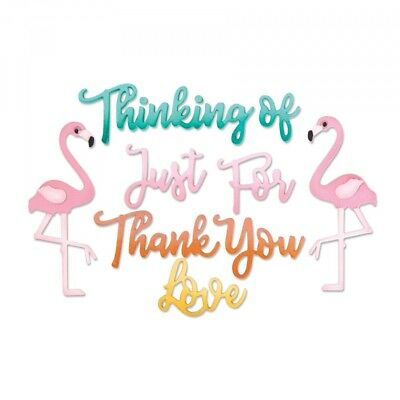 11 SIZZIX Thinlits Stanzschablone - Texte FLAMINGO THANK YOU LOVE FOR YOU 662724