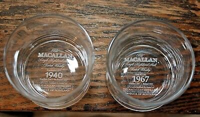 "Macallan set of 2 glass tumblers 2 7/8"" tall; history 1940 1967 scotch 2002"