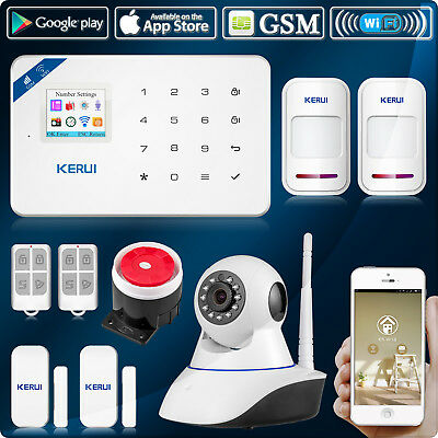 APP Control W18 WIFI GSM Home/Office Security Alarm System Siren,720P IP Camera
