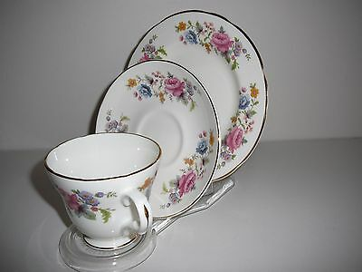 Crown Trent England trio Fine Bone China cup saucer plate bunch flowers floral