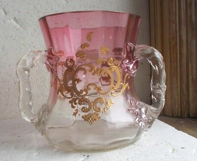 Antique 1890 Moser Cranberry Art Glass 3 Handle Loving Cup Applied Twist Handles