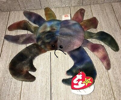 Ty Beanie Babies CLAUDE The Crab Plush Stuffed Animal Toy 1996 Retired MWMT