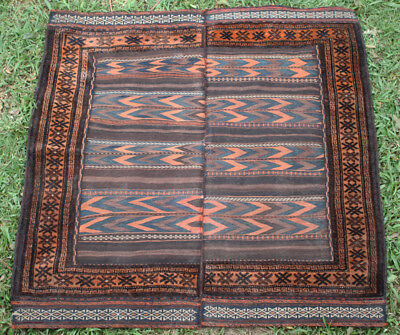 Handmade Old Afghan Tribal Balouch Soffre Rug