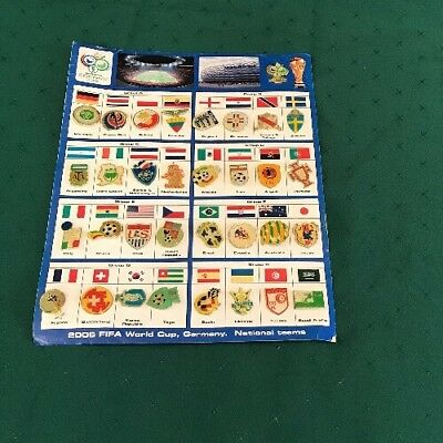 World Cup 2006 Football Pin Badge Full Set With Card Germany Fifa