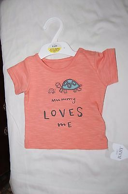 M&S Short Sleeved T Shirt Soft Coral Mummy Loves Me Age Up to 1 Month BNWT