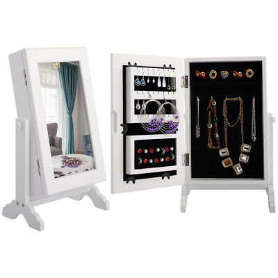 SMALL MIRRORED Jewelry Cabinet Organizer Armoire Storage Box